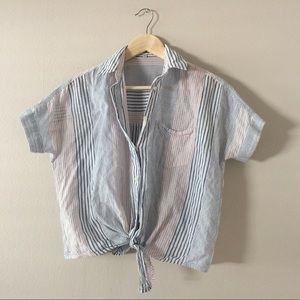 Madewell striped tie shirt size xxs